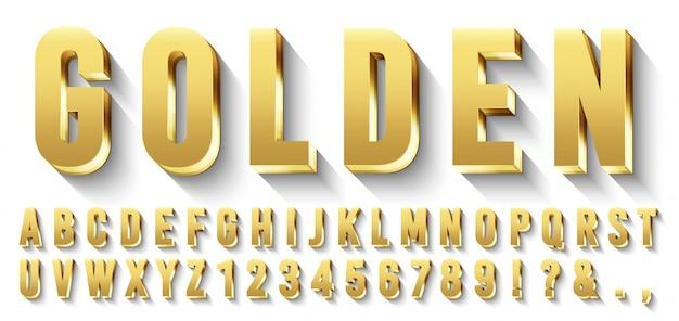 Złota czcionka. metaliczne złote litery, luksusowy krój pisma i złoty alfabet z zestawem cieni