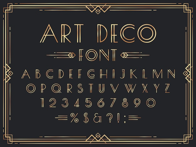 Złota czcionka w stylu art deco. luksusowe ozdobne litery geometryczne z lat 20. xx wieku, ozdobne złote cyfry i zestaw ramek retro.