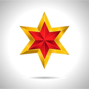 Złota czerwona gwiazda ilustracja symbol sztuki