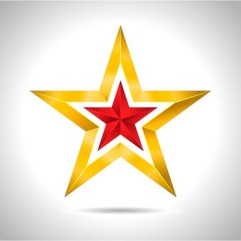 Złota czerwona gwiazda ilustracji 3d sztuki symbol bożego narodzenia