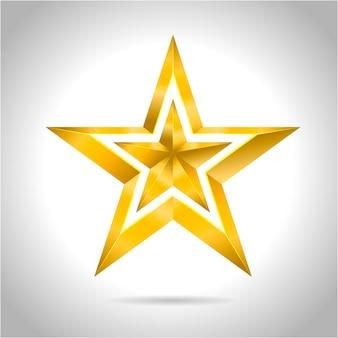 Złota czerwona gwiazda ilustracji wektorowych 3d sztuki symbol bożego narodzenia