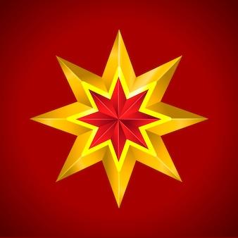 Złota czerwona gwiazda ilustracji wektorowych