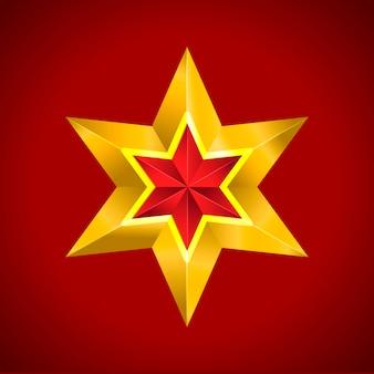 Złota czerwona gwiazda na czerwono
