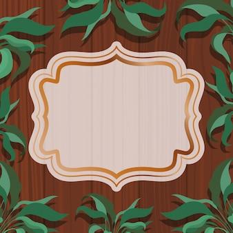 Złota elegancka rama z ziołowym i drewnianym tłem