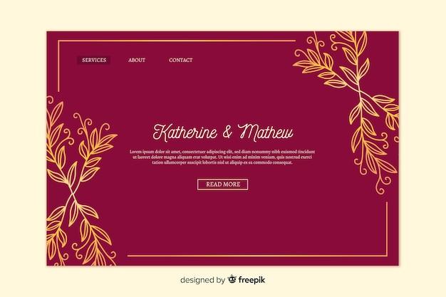 Złota elegancka strona docelowa ślubu