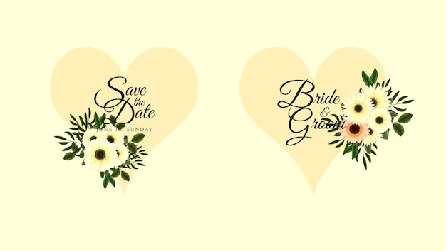 Złota etykieta vintage z ramkami z kwiatami w szczegółowym stylu na zaproszenia ślubne w mediach społecznościowych