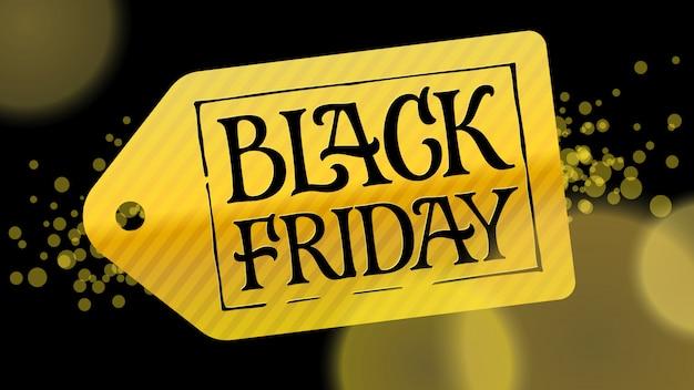 Złota etykieta z czarnymi literami czarny piątek na czarnym tle. ilustracja do reklam, banerów, broszur, broszur, promocji.