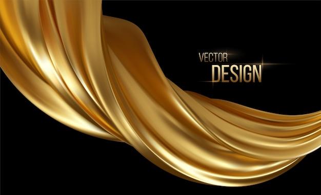 Złota fala 3d. streszczenie ruchu nowoczesna ilustracja. przepływ luksusowego złotego koloru