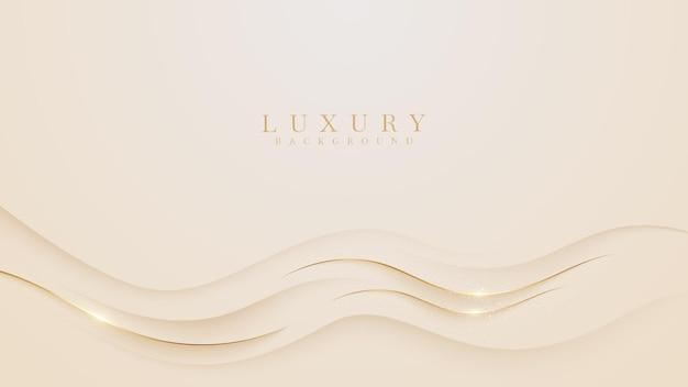 Złota fala luksusu musujące na kremowym tle pastelowych kolorów, ilustracja z wektora o nowoczesnym szablonie, który wydaje się cenny i drogi.