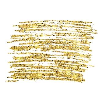 Złota farba błyszczące tło na białym tle. tło ze złotymi iskierkami i efektem brokatu. puste miejsce na twój tekst. ilustracja wektorowa
