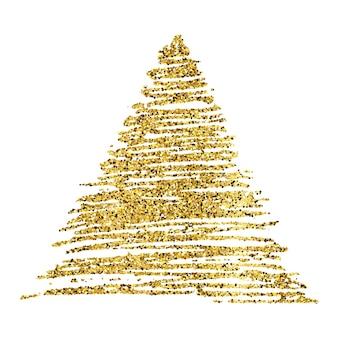 Złota farba ręcznie rysowane błyszczący trójkąt na białym tle. tło ze złotymi iskierkami i efektem brokatu. puste miejsce na twój tekst. ilustracja wektorowa