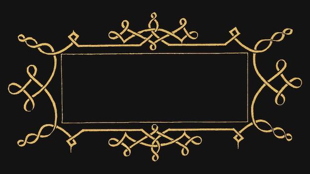 Złota filigranowa ramka w stylu wiktoriańskim