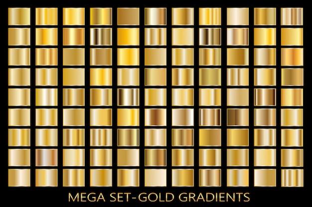 Złota folia tekstura tło zestaw. wektor złoty, miedziany, mosiężny i metalowy szablon gradientu.