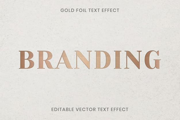 Złota folia tekstury efekt tekstowy wektor edytowalny szablon