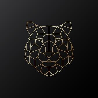 Złota geometryczna głowa tygrysa