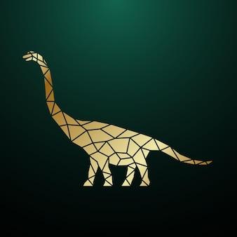 Złota geometryczna ilustracja dinozaura brachiosaurus
