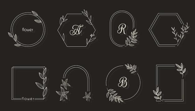Złota geometryczna rama kwiatowy z liśćmi, gałęziami i wieńcami