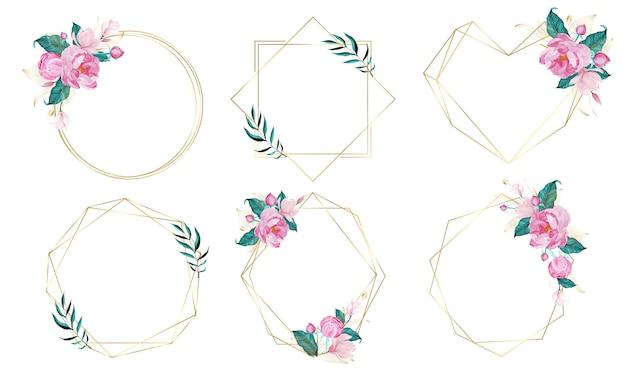 Złota geometryczna rama ozdobiona kwiatami w stylu przypominającym akwarele