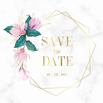 Złota geometryczna rama z kwiatowym na marmurowym tle logo monogram ślubu i karta zaproszenie