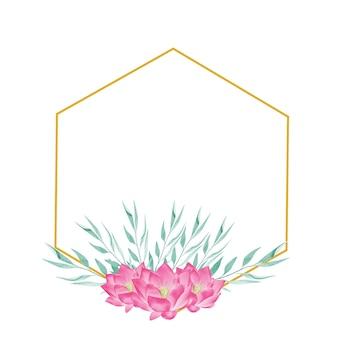 Złota geometryczna ramka clipart z akwarelowymi kwiatami01