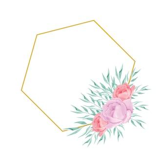 Złota geometryczna ramka clipart z akwarelowymi kwiatami