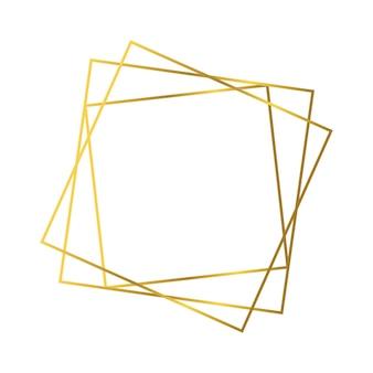 Złota geometryczna ramka wielokątna z efektami lśniącymi na białym tle. puste świecące tło w stylu art deco. ilustracja wektorowa.