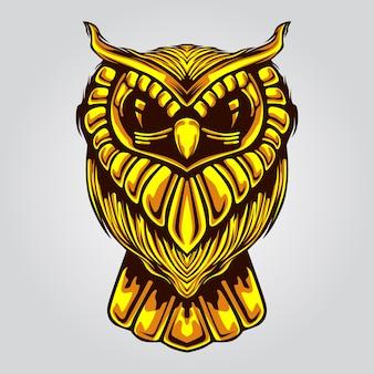 Złota grafika ilustracja sowa