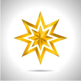 Złota gwiazda 3d symbol bożego narodzenia