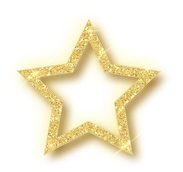 Złota gwiazda boże narodzenie na białym tle.