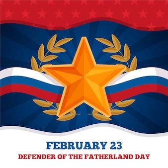 Złota gwiazda i flaga dzień obrońcy ojczyzny