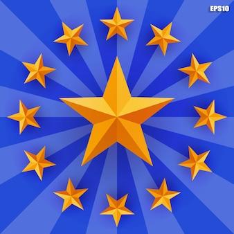 Złota gwiazda na niebieskim tle promienia