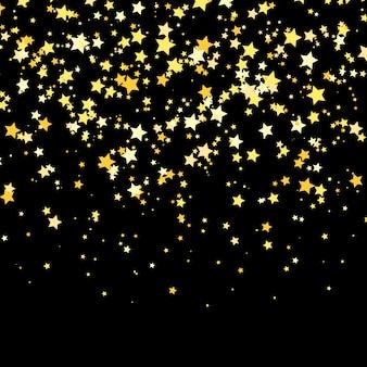 Złota gwiazda . połysk konfetti wzór. wektor