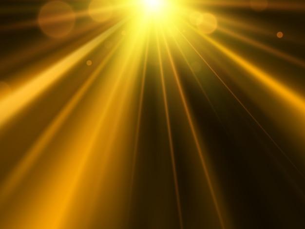 Złota gwiazda, słońce z flarą obiektywu. streszczenie tło wektor