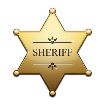Złota gwiazda szeryfa na białym tle