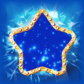 Złota gwiazda wektor. sylwetka złota dyskoteka, kasyno, karnawał gwiazda retro rama