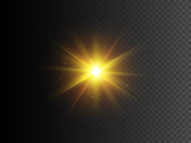 Złota gwiazda z błyskami. efekt świetlny przezroczysty blask wektor.