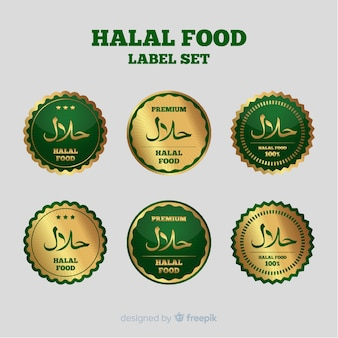 Złota halal kolekcja etykiet z płaskiej konstrukcji