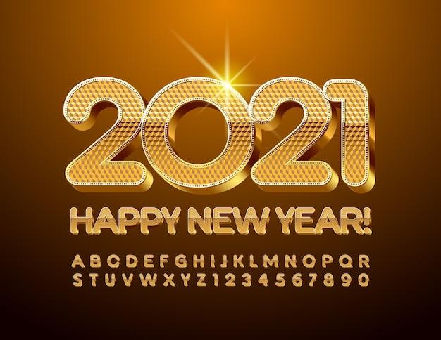 Złota happy new year 2021. szykowna czcionka premium. zestaw liter alfabetu 3d i cyfr