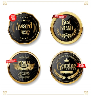 Złota i czarna kolekcja odznaki i etykiety retro sprzedaż