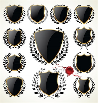 Złota i czarna kolekcja tarczy