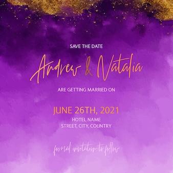 Złota i fioletowa akwarela zaproszenie na ślub