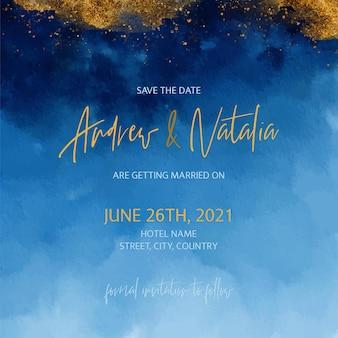 Złota i niebieska akwarela zaproszenie na ślub