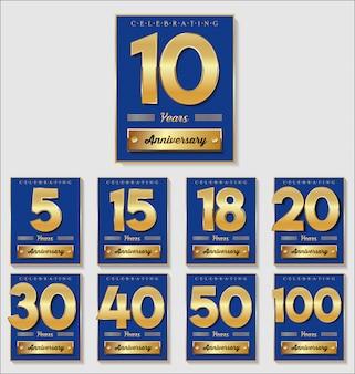 Złota i niebieska rocznica transparent ilustracja kolekcji