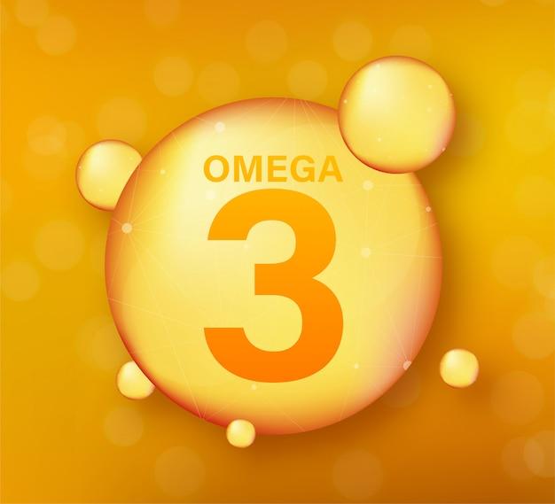 Złota ikona omega 3. kapsułka z witaminą. błyszcząca złota kropla esencji. ilustracja.