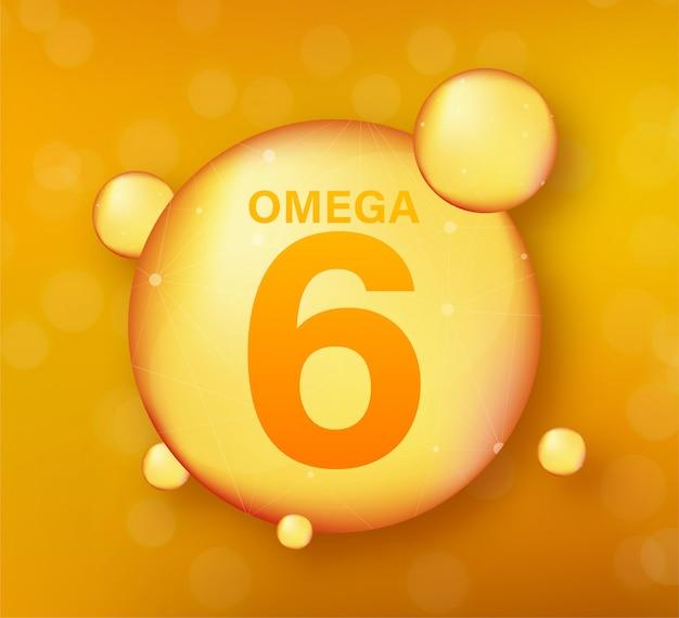 Złota ikona omega 6. kapsułka z witaminą. błyszcząca złota kropla esencji. ilustracja.