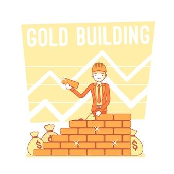 Złota ilustracja budynku