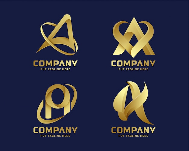 Złota inital litera a kolekcja logo