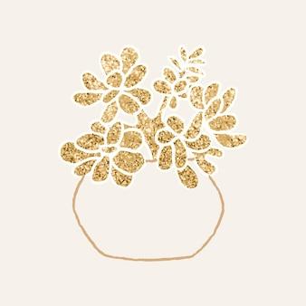 Złota jadeitowa roślina doniczkowa grafika elementu wektorowego
