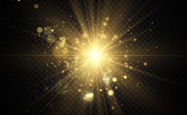 Złota jasna gwiazda. efekt świetlny jasna gwiazda. błyszcz specjalnym światłem.