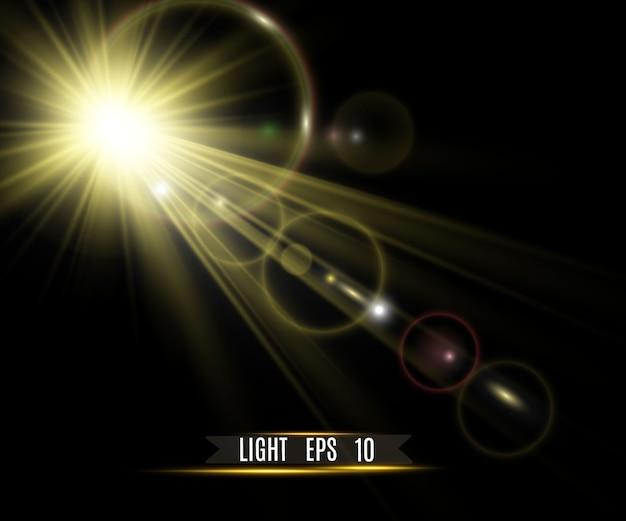 Złota jasna gwiazda efekt świetlny jasna gwiazda piękne światło do zilustrowania